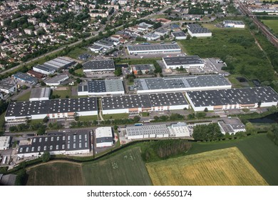 Aerial view of an industrial zone near Paris - France