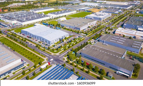 Aerial view of industrial zone and technology park on Bory suburb of Pilsen city in Czech Republic, Europe. Industrial fields from above. Background concept.