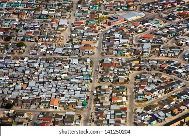 Aerial view of informal settlements of the Cape Flats, Cape Town, South Africa