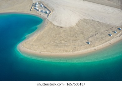 Aerial view of inland sea, desert near Doha, Qatar