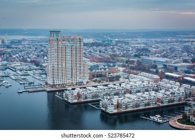 Aerial view of the Inner Harbor and Federal Hill, in Baltimore, Maryland.