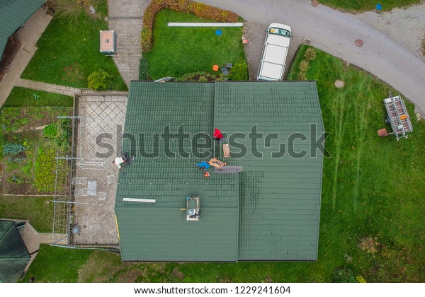 Aerial View Installation Domestic Solar Power Stock Photo
