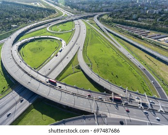 Aerial view at the interchanges of Western High Speed Diameter (WHSD) and city ringroad. St. Petersburg, Russia