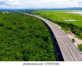 Aerial view intercity Motorway Nakhon Ratchasima - Bangpa In, new Amazing road of Thailand, Motorway during construction at Lamtakong Dam area is the most beautiful and unseen point of this road.