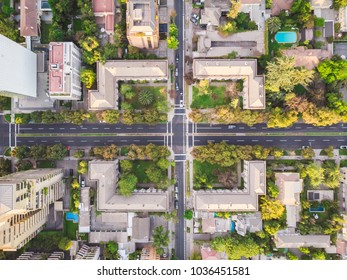 Aerial view of an intersection at Santiago de Chile