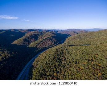 Aerial view of Interstate 64 in the Allegheny Mountains near Jordan Mines, Alleghany County, Virginia.