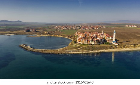 Aerial view into sea resort Aheloy on the Bulgarian Black Sea coast