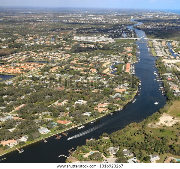 Aerial View Intracoastal Waterway South Florida Stock Photo