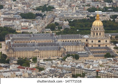 Aerial view of the Invalides Palace in Paris.