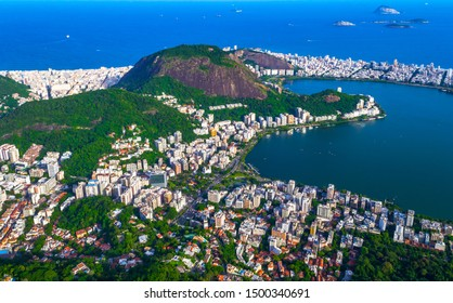 Aerial view of Ipanema and Lagoa in Rio de Janeiro, Brazil. Laguna Rodrigo de Freitas a favorite vacation spot of the inhabitants of Rio