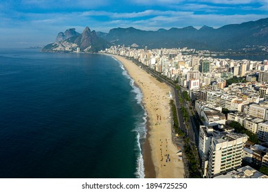 Aerial view of Ipanema and Leblon district, Rio de Janeiro city, Brazil, South America.