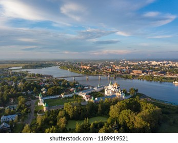 Aerial view of Ipatiev Monastery in Kostroma. Photo from drone, summer. Russia