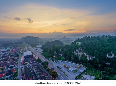 Aerial view at Ipoh, Perak Malaysia during sunrise. Ipoh is a capital state of Perak.