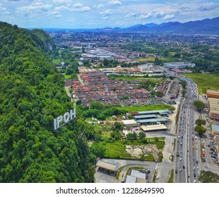 Aerial view of Ipoh Perak, Malaysia. Ipoh is a capital state of Perak, and it is a great weekend getaway destination for those who love food, nature, and adventure.