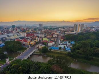 Aerial view at Ipoh Town, Perak Malaysia during sunrise