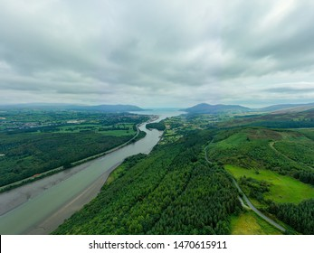 Aerial view of the Irish border, Flagstaff Viewpoint on Fatham Hill near Newry view over Carlingford Lough, the Mourne Mountains and Cooley Mountains.