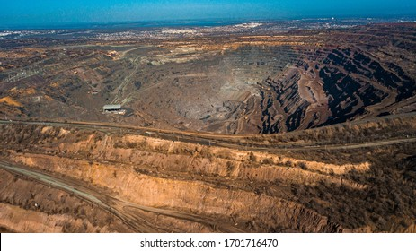 Aerial view of the Iron ore mining, Panorama of an open-cast mine extracting