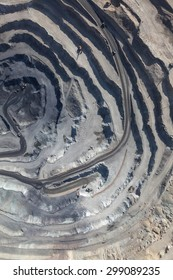 Aerial view to the iron ore open mine