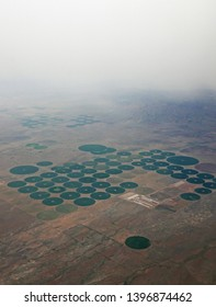 Aerial view of irrigation fields near Pearce, Arizona, USA