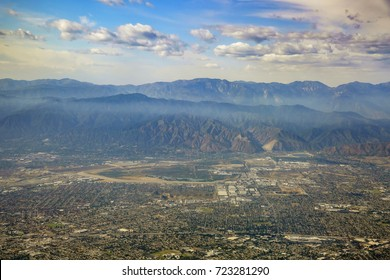 Aerial view of Irwindale, West Covina, view from window seat in an airplane, California, U.S.A.