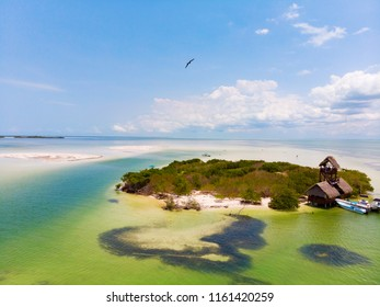 Aerial view of Isla de la Pasion on the island of Isla Holbox, Mexico