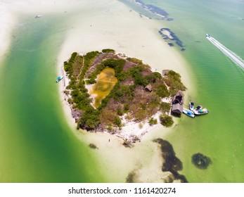 Aerial view of Isla de la Pasion on the island of Isla Holbox, Mexico