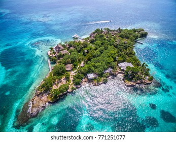 Aerial view of Isla del Pirata at Rosario Islands off the coast of Cartagena de Indias, Colombia.
