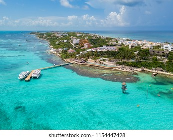 An aerial view of Isla Mujeres in Cancun, Mexico