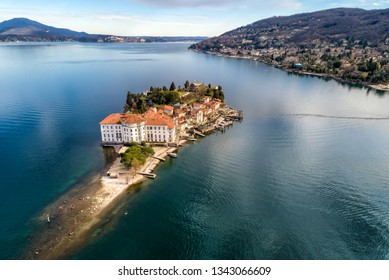 Aerial view of Island Bella at Lake Maggiore, is one of the Borromean Islands in Piedmont of north Italy, Stresa, Verbania