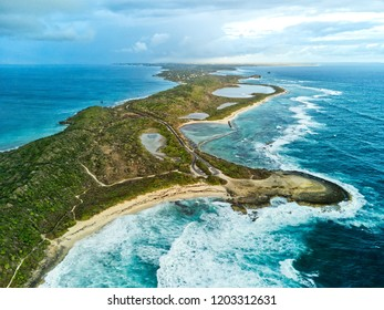Aerial view of island of Guadeloupe