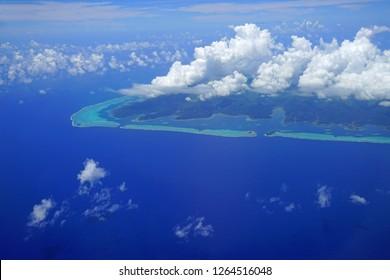 Aerial view of the island and lagoon of Raiatea (Ra'iatea) near Tahiti in French Polynesia, South Pacific