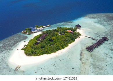 Aerial view of island, Maldives