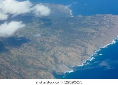 Aerial view of island of Molokai