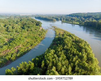 Aerial view of the island on the Drava River, Croatia - Shutterstock ID 1959712789