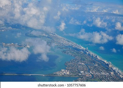 Aerial view of the island of Puerto Rico.