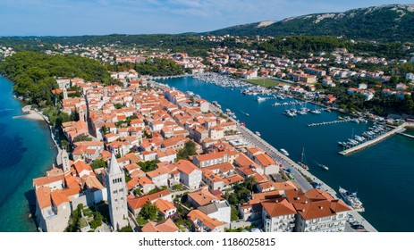 Aerial View of Island Rab in Croatia to the old town