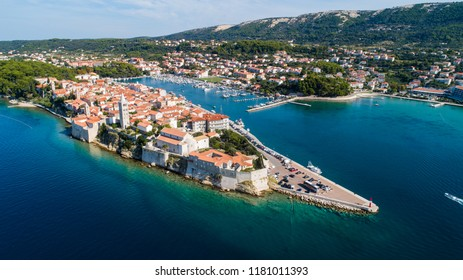 Aerial View of Island Rab in Croatia.View over the old town