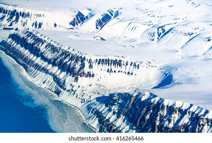 Aerial view of the Island of Spitsbergen, Svalbard, Norway