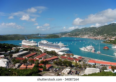 Aerial view of the island of St Thomas, USVI