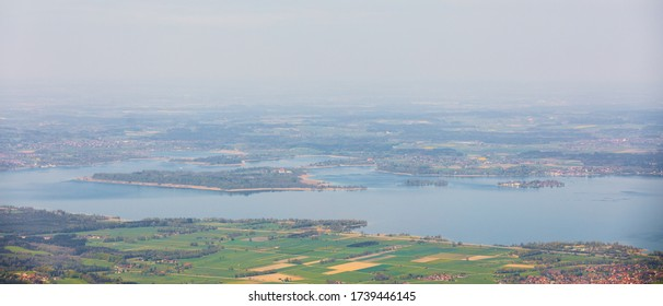aerial view of islands on lake chiemsee