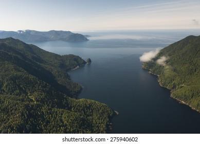 Aerial view of islands in the Pacific Ocean, Skeena-Queen Charlotte Regional District, Haida Gwaii, Graham Island, British Columbia, Canada