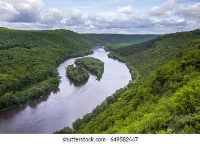 aerial view of islands Yin and Yang in Dnister river, Ternopil region of western Ukraine