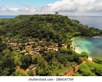 Aerial view from isle of turtledoves (ilheu das rolas ) in Sao Tome e Principe