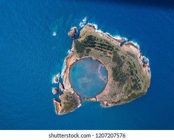 Aerial view of the Islet of Vila Franca do Campo near San Miguel island, is formed by the crater of an old underwater volcano, Azores, Portugal.