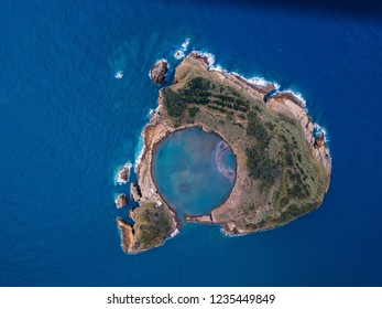 Aerial view of Islet of Vila Franca do Campo near San Miguel island, Azores archipelago, Portugal.