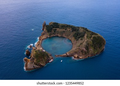 Aerial view of Islet of Vila Franca do Campo near San Miguel island, Azores archipelago, Portugal.
