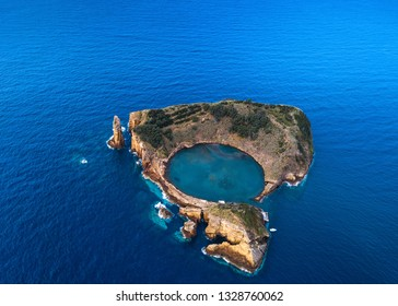 Aerial view of the Islet of Vila Franca do Campo - Azores islands, Portugal.