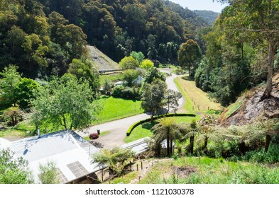 Aerial view of the isolated former mining town of Walhalla in Gippsland, Australia.