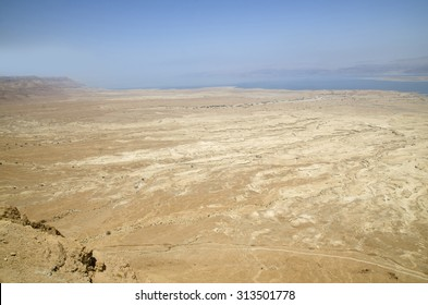 Aerial view of Israel desert and Dead sea panorama