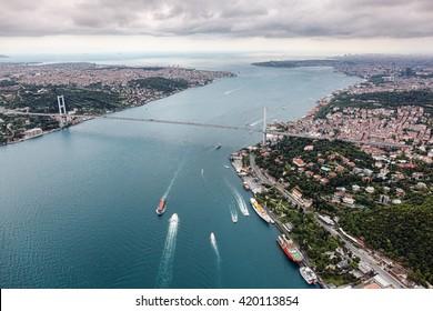 Aerial view of Istanbul. 15 July Martyrs - Bosphorus Bridge